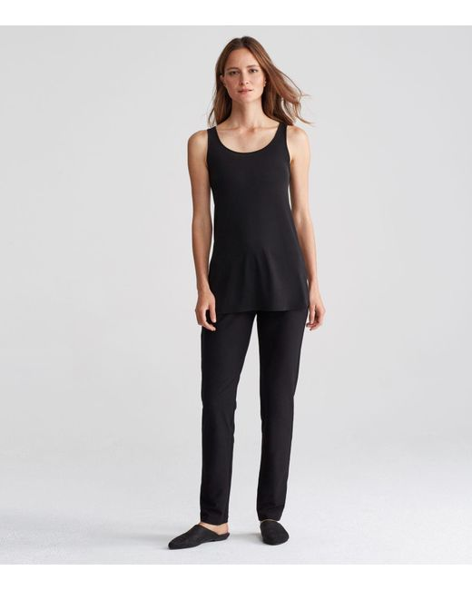 Eileen Fisher | Black Stretch Silk Jersey System Tunic | Lyst
