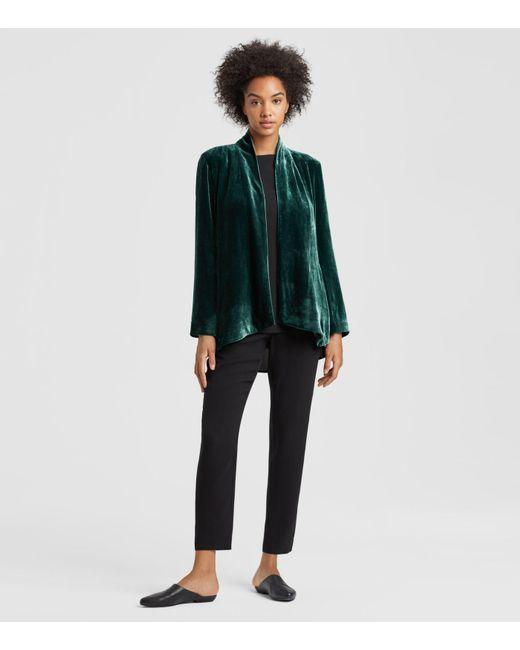 Eileen Fisher - Green Velvet Angled Jacket - Lyst
