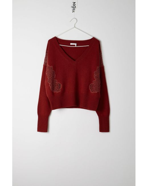 Chloé - Red Lace Sweater - Lyst