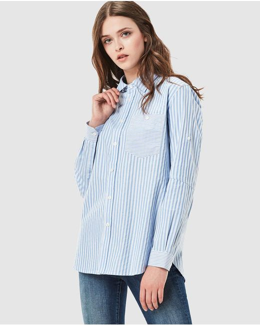g star raw striped boyfriend shirt in blue lyst. Black Bedroom Furniture Sets. Home Design Ideas