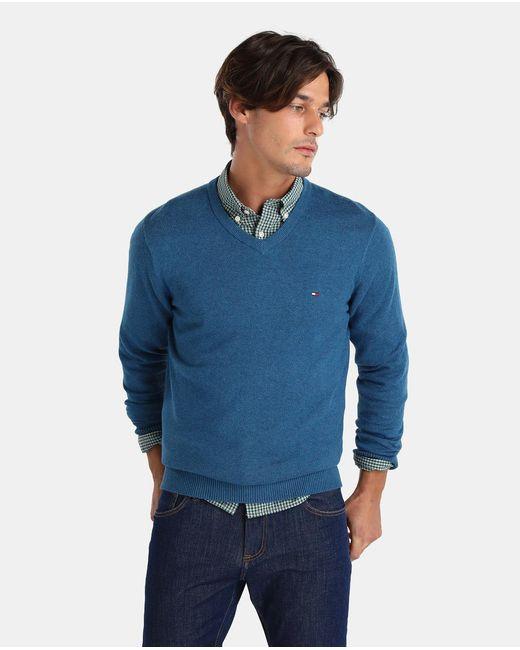 Tommy Hilfiger | Blue V-neck Sweater for Men | Lyst