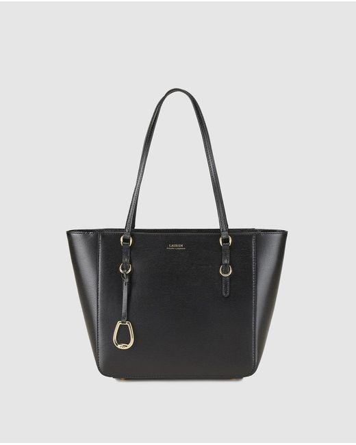 Lauren by Ralph Lauren - Black Saffiano Leather Shopper Bag With Zip - Lyst