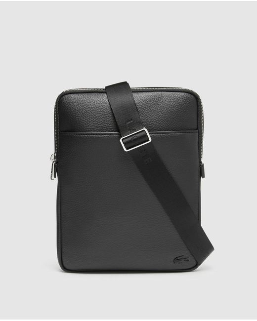Lacoste Medium Black Crossbody Bag With Zip for men