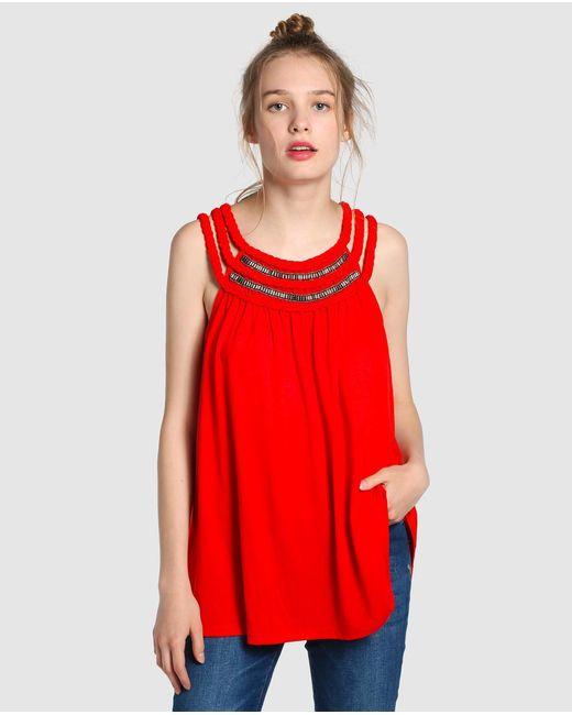 Vero Moda   Red T-shirt With Plaiting And Rhinestones   Lyst