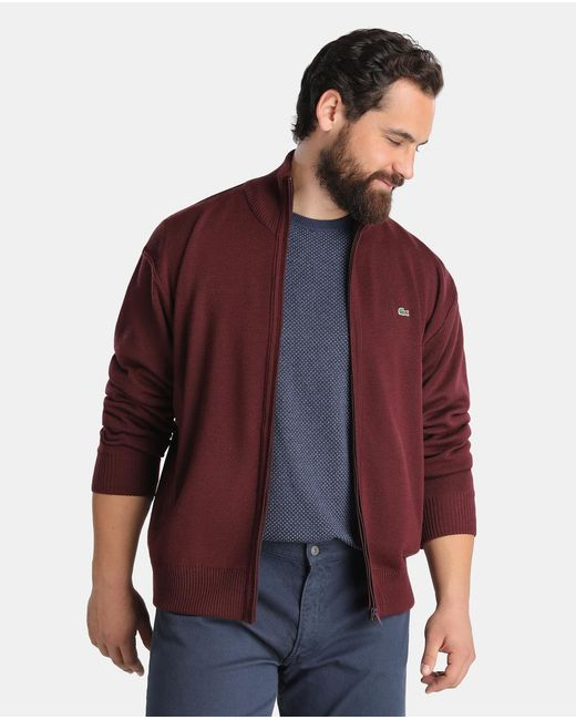 Lacoste Big And Tall Maroon Zip Up Cardigan For Men Lyst