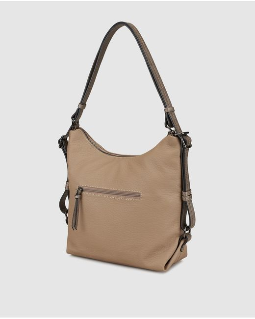 60fb8cb70 ... Caminatta - Brown Taupe Hobo Bag With Adjustable Backpack Straps - Lyst  ...