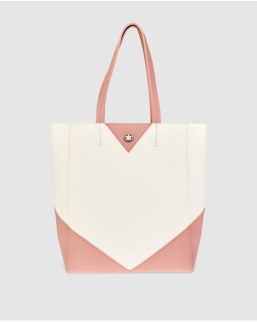 Caminatta | Large White Shopper Bag With Pink Details | Lyst