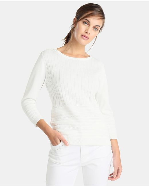 Yera - White Sweater With Vertical Textured Bands - Lyst