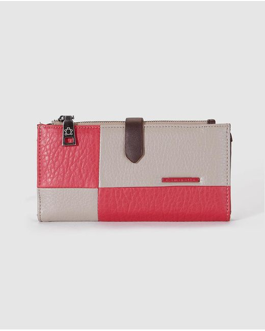 Caminatta - Wo Large Pink And Beige Wallet With Zip And Fastener - Lyst