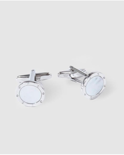 Mirto - Metallic Round Silver Cufflinks With Pearly Detail for Men - Lyst