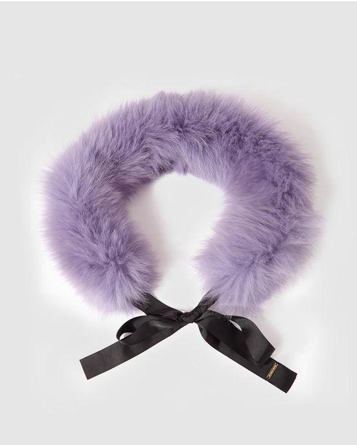 Gloria Ortiz - Purple Lilac Natural Fur Cowl With Ribbon - Lyst