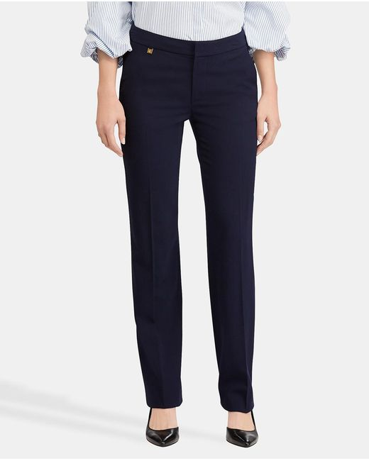 Lauren by Ralph Lauren - Blue Straight Trousers With Front Fastening - Lyst