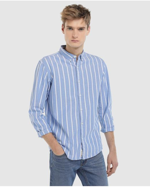 GREEN COAST - Slim-fit Blue Striped Oxford Shirt for Men - Lyst