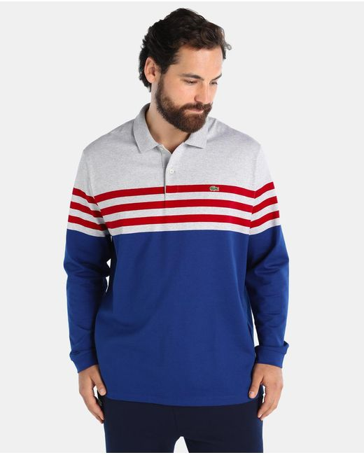 Lacoste Big And Tall Striped Long Sleeve Polo Shirt In