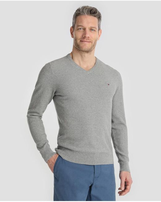 Tommy Hilfiger - Gray Grey V-neck Sweater for Men - Lyst