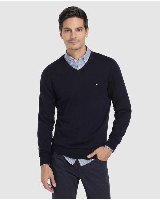 Tommy Hilfiger - Blue Virgin Wool Sweater With V-neck for Men - Lyst