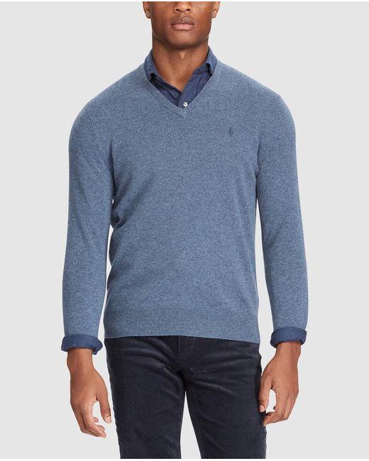 Polo Ralph Lauren | Blue Fine Merino Wool V-neck Sweater for Men | Lyst