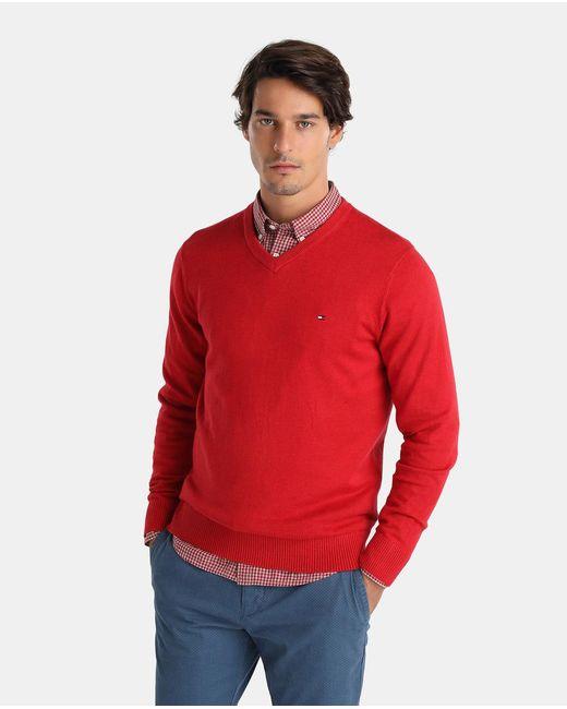 Tommy Hilfiger | Red V-neck Sweater for Men | Lyst