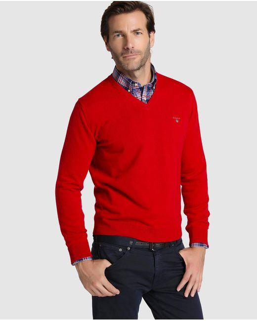 Gant | Red V-neck Sweater for Men | Lyst