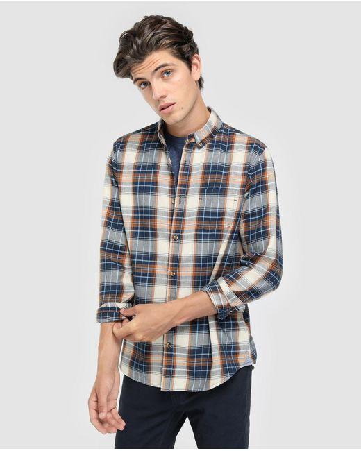 GREEN COAST - Blue Checked Slim-fit Shirt for Men - Lyst