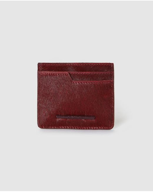 Jo & Mr. Joe - Red Wo Burgundy Leather Card Holder - Lyst