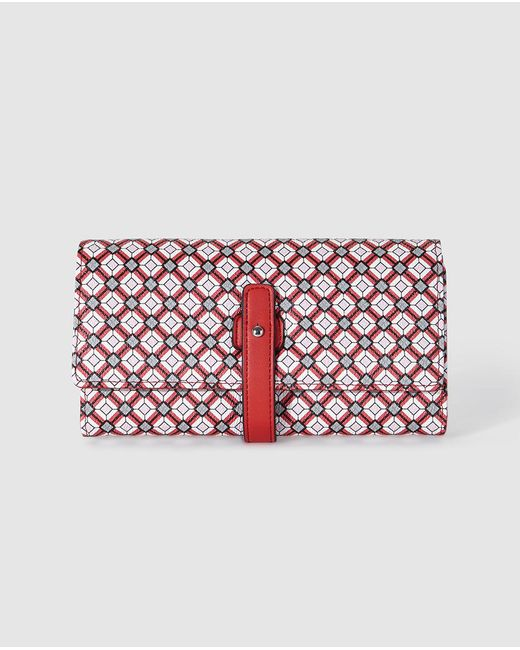 El Corte Inglés - Wo Large Red Wallet With A Geometric Print And Tab Closure - Lyst