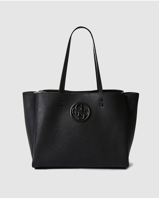 Guess - Black Shopper Bag With Front Logo - Lyst