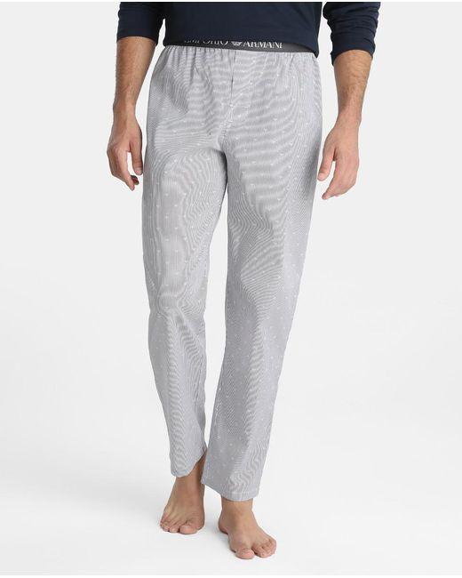Emporio Armani | Gray Long Grey Fabric Pyjama Bottoms for Men | Lyst