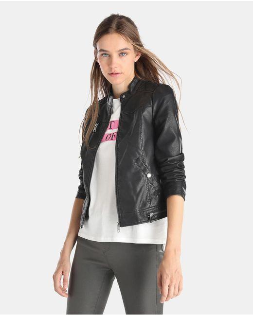 Lyst - Vero Moda Faux Leather Biker Jacket In Black