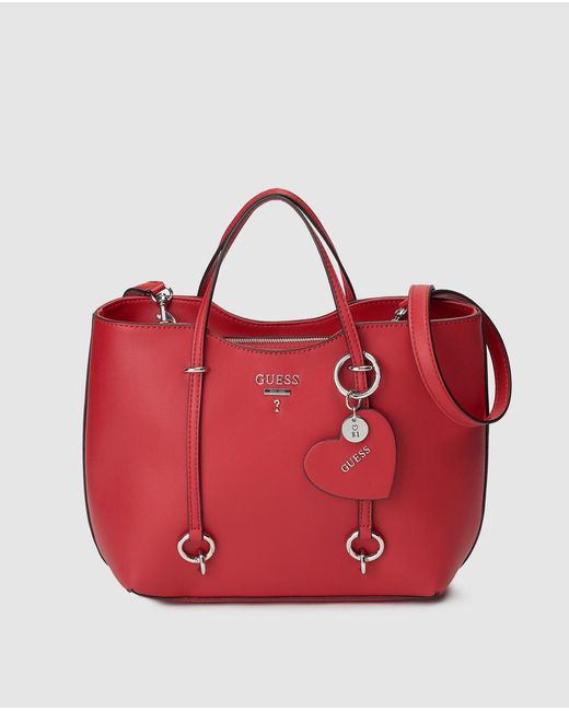 Guess Red Tote Bag With Heart Charm in Red