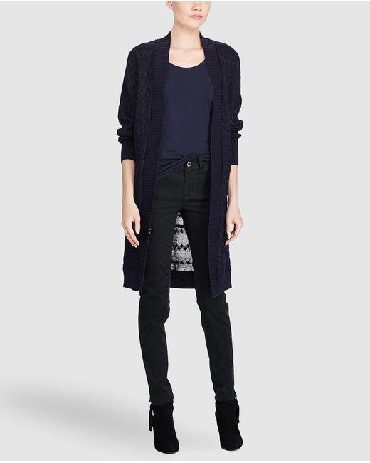 Lauren by Ralph Lauren | Blue Long Plaited Cardigan | Lyst