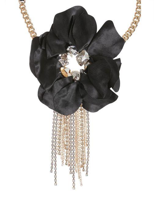 Lanvin | Black Flower Charm Choker | Lyst
