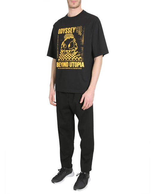 McQ Alexander McQueen - Black Round Collar Cotton T-shirt With Rave Monster Print for Men - Lyst