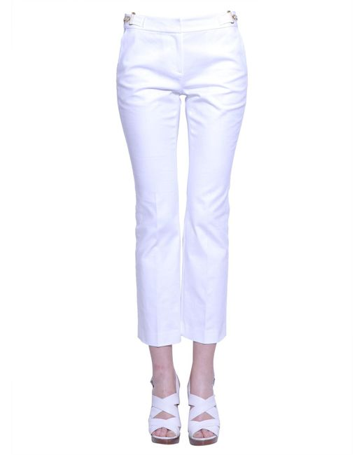 MICHAEL Michael Kors | White Cropped Trousers With Metal Detail | Lyst