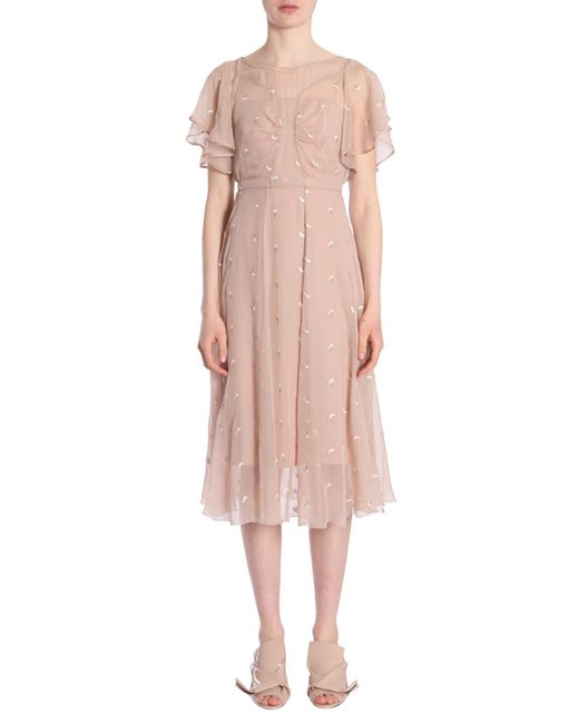 N°21 - Pink Embroidered Silk Dress - Lyst