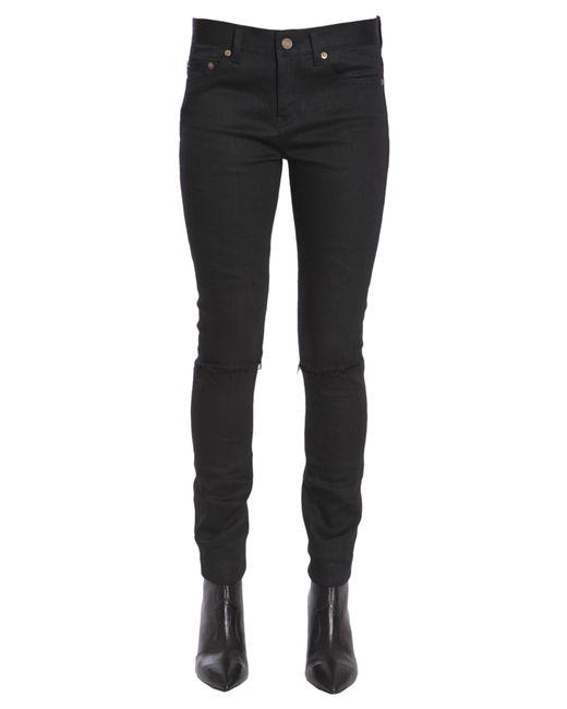 Saint Laurent - Black Original Skinny Jeans With Destroyed Detail - Lyst