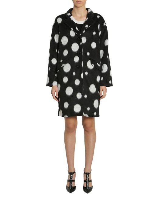 Boutique Moschino - Black Long Polka Dots Velour Coat - Lyst