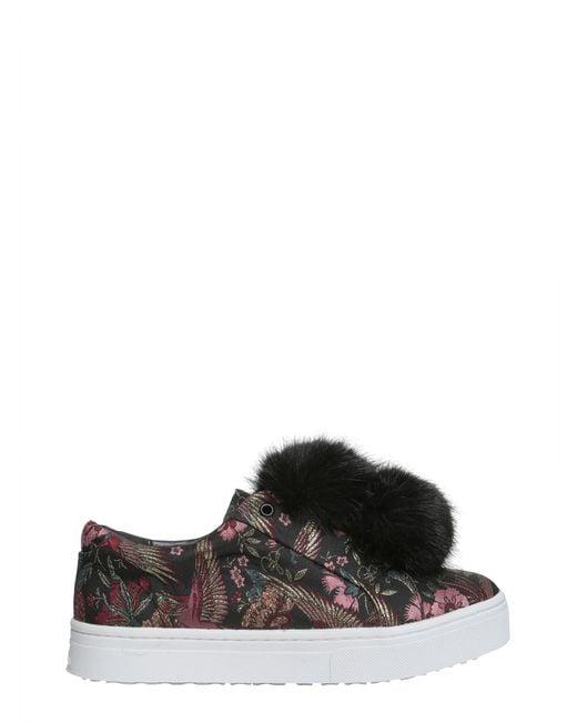883b11c5acd9 Lyst - Sam Edelman Leya Faux-fur Pom Pom Sneakers in Black - Save 79%