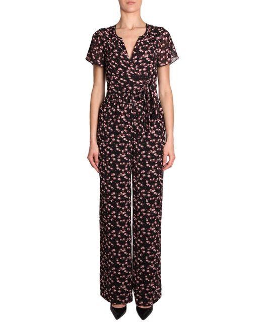 MICHAEL Michael Kors - Black Floral Print Jumpsuit - Lyst