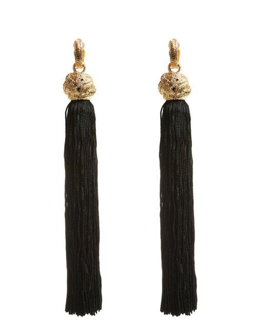 Saint Laurent | Black Loulou Tassel Earrings | Lyst