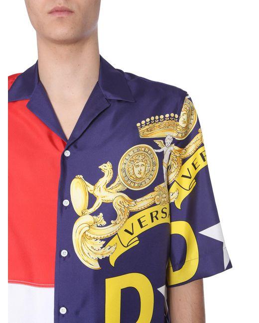 178a523f ... Versace - Multicolor Panelled Logo Print Short Sleeved Silk Shirt for  Men - Lyst ...