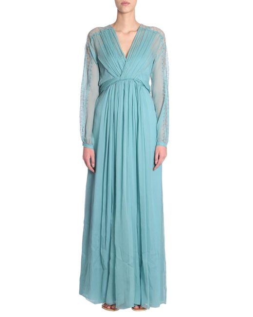 Alberta Ferretti - Blue Long Silk Gerogette Dress With Lace Detail - Lyst