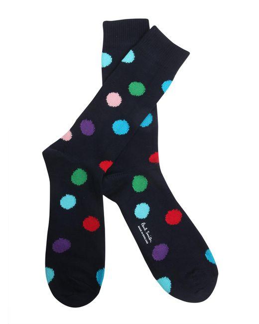 Paul Smith - Blue Polka Dots Printed Cotton Blend Socks - Lyst