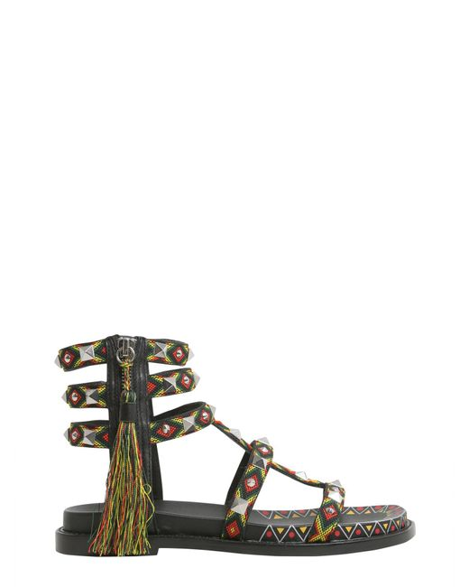 Ash | Black Emboridered Medelin Sandals With Tassel | Lyst