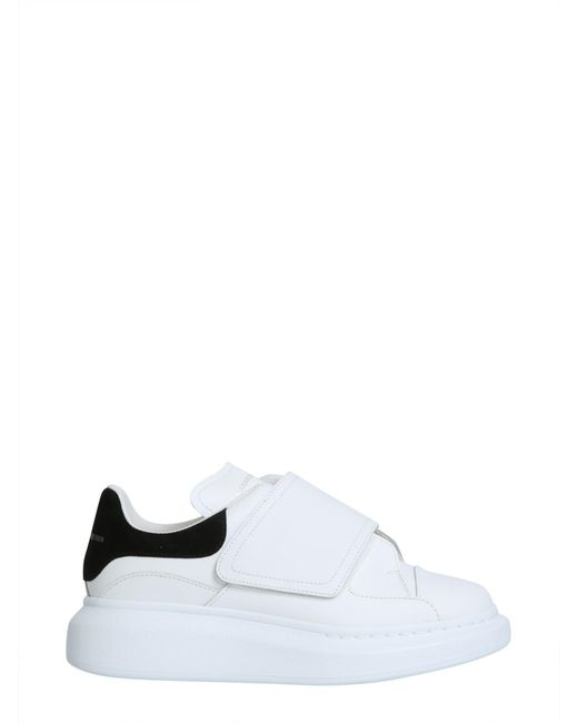 Alexander McQueen - White Oversize Leather Sneakers With Suede Insert - Lyst