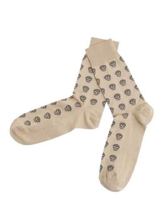 Alexander McQueen - Natural Skull Short Cotton Blend Socks for Men - Lyst