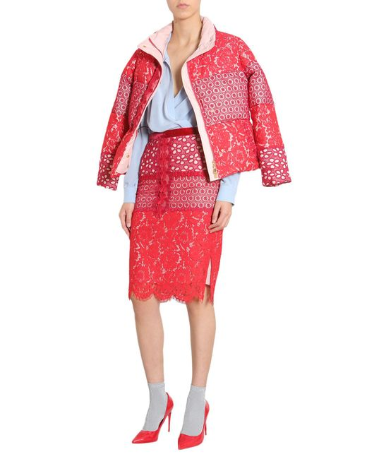 Boutique Moschino - Red Pencil Skirt With Lace Patchwork - Lyst