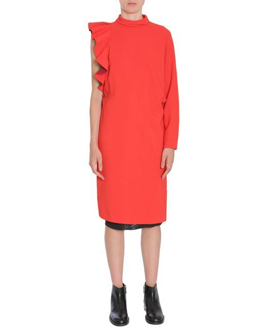 Givenchy - Red One-shoulder Crêpe Dress With Metal Plate - Lyst