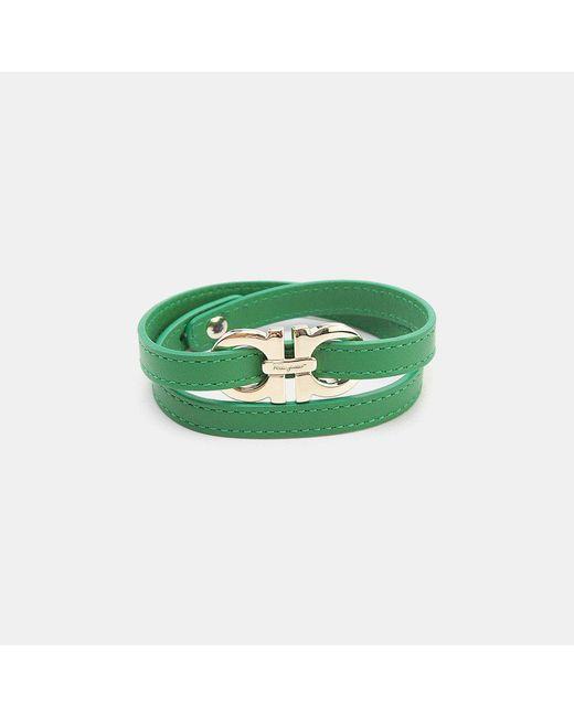 Ferragamo   Green Leather Wrap Bracelet   Lyst