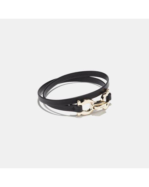 Ferragamo | Black Gancio Leather Wrap Bracelet | Lyst
